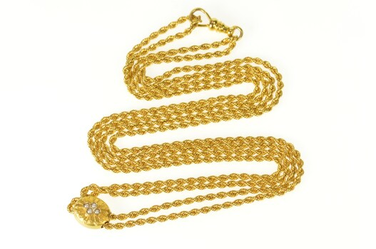"""14K Rope Pearl Slide Charm Pocket Watch Chain Yellow Gold Necklace 24"""""""