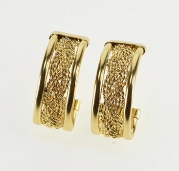 14K Rope Textured Braid Woven Design Semi Hoop Yellow Gold Earrings