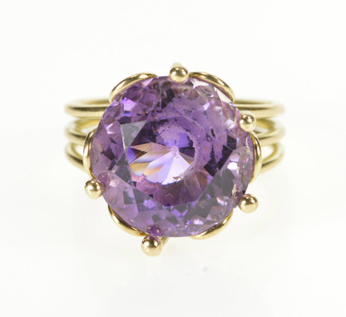 14K Round Amethyst Solitaire Ornate Cocktail Yellow Gold Ring, Size 7