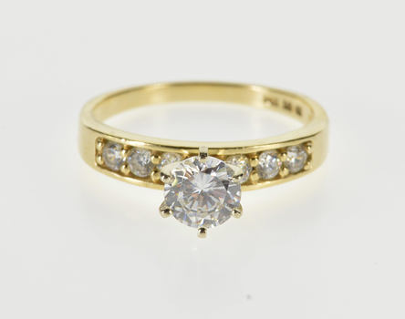 14K Round Brilliant Cut Accent Travel Engagement Yellow Gold Ring, Size 8