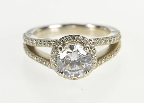 14K Round Brilliant Halo Pave Travel Engagement White Gold Ring, Size 6.75