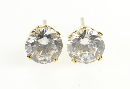 14K Round Cubic Zirconia Classic Solitaire Stud Yellow Gold Earrings