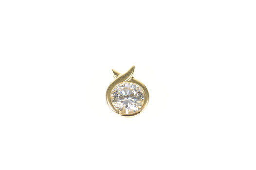 14K Round Cubic Zirconia Solitaire Criss Cross Yellow Gold Pendant