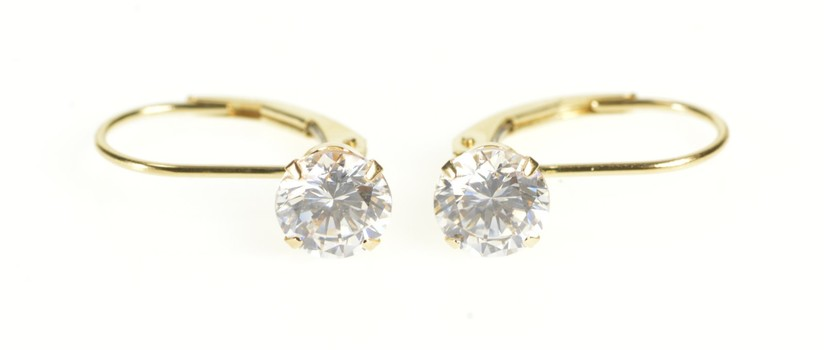 14K Round Cubic Zirconia Solitaire Lever Back Yellow Gold Earrings