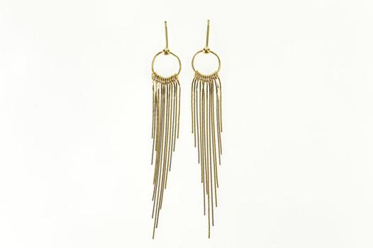 14K Round Dangle Tri Tone Chain Fringe Statement Yellow Gold Earrings