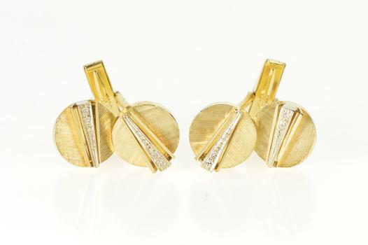 14K Round Diamond Accent Geometric Retro Men's Yellow Gold Cuff Links