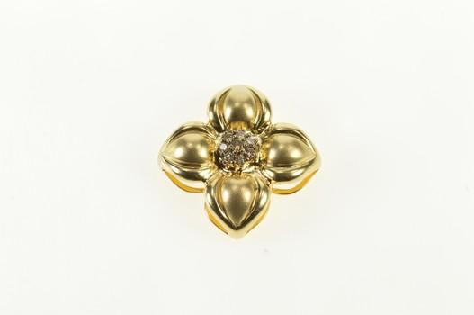 14K Round Diamond Cluster Flower Slide Yellow Gold Pendant