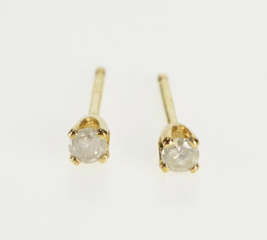 14K Round Diamond Solitaire Stud Baby Gift Yellow Gold Earrings