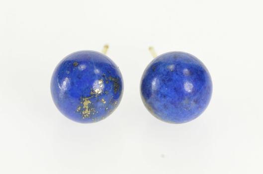 14K Round Lapis Lazuli Sphere Ball Stud Yellow Gold Earrings