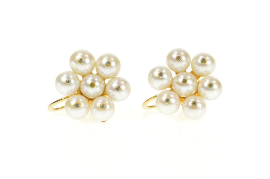 14K Round Pearl Floral Cluster Retro Screw Back Yellow Gold Earrings
