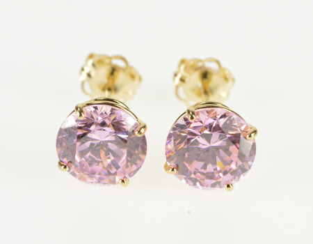 14K Round Pink Cubic Zirconia Solitaire Stud Yellow Gold Earrings