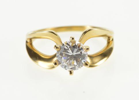 14K Round Prong Set Loop Design Travel Engagement Yellow Gold Ring, Size 7