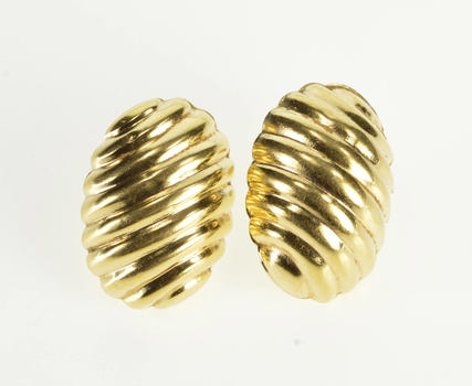 14K Rounded Domed Scalloped Striped Post Back Oval Yellow Gold Earrings