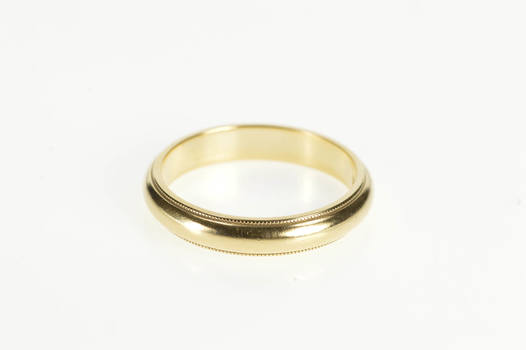 14K Rounded Grooved Milgrain Trim Wedding Band Yellow Gold Ring, Size 7.75