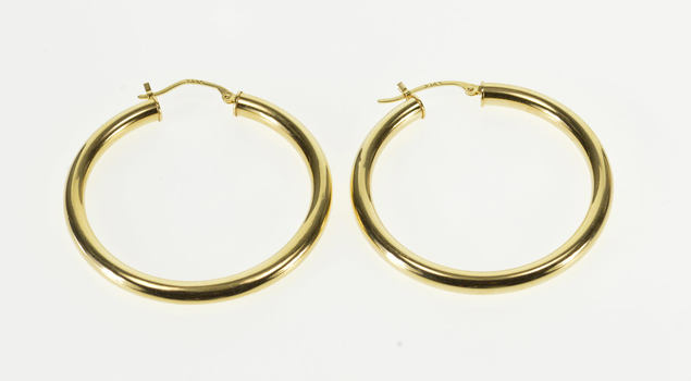 14K Rounded Hollow Tube Hoop Yellow Gold EarRings
