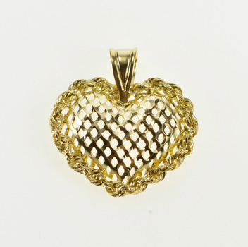 14K Rounded Lattice Pattern Rope Trim Heart Yellow Gold Pendant