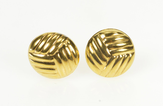 14K Rounded Volleyball Sports Ball Stud Yellow Gold Earrings