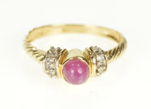 14K Ruby Cabochon Diamond Twist Engagement Yellow Gold Ring, Size 6.75
