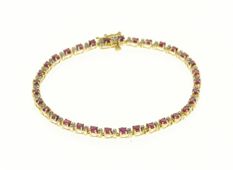 "14K Ruby Diamond Accented Tennis Yellow Gold Bracelet 7.25"""