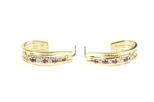14K Ruby Diamond Inset Squared Semi Hoop Yellow Gold Earrings