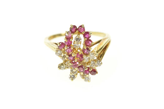 14K Ruby Diamond Loop Cluster Statement Cocktail Yellow Gold Ring, Size 6.25