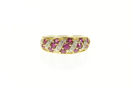 14K Ruby Diamond Striped Pave Statement Band Yellow Gold Ring, Size 8