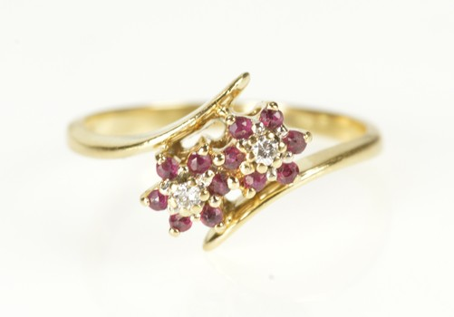 14K Ruby Diamond Two Flower Cluster Bypass Yellow Gold Ring, Size 7.25