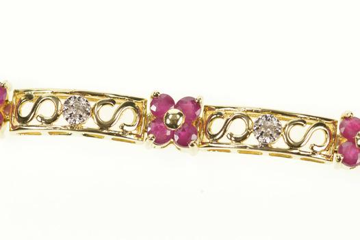 "14K Ruby Flower Cluster Diamond Bar Link Tennis Yellow Gold Bracelet 7"""