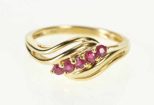 14K Ruby Inset Wavy Design Fashion Band Yellow Gold Ring, Size 8