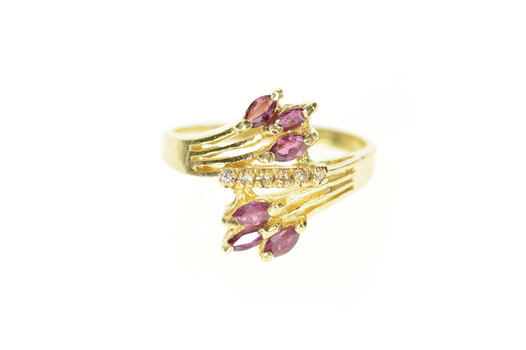 14K Ruby Marquise Cluster Diamond Accent Bypass Yellow Gold Ring, Size 7.75
