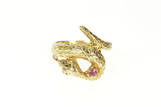 14K Ruby Ornate Snake Serpent Wrap Statement Yellow Gold Ring, Size 8