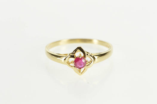 14K Ruby Solitaire Flower Design Engagement Yellow Gold Ring, Size 7.25