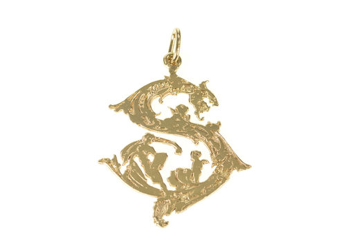 14K S Monogram Ornate Cherubic Motif Angel Yellow Gold Charm/Pendant