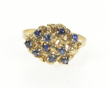 14K Sapphire Cluster Ornate Fashion Statement Yellow Gold Ring, Size 5.5