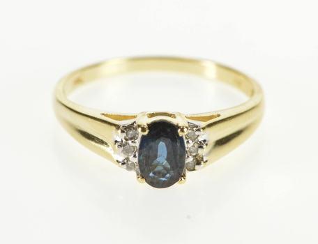 14K Sapphire Diamond Accent Alternative Engagement Yellow Gold Ring, Size 6