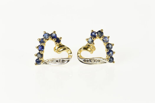 14K Sapphire Diamond Accent Classic Heart Stud Yellow Gold Earrings