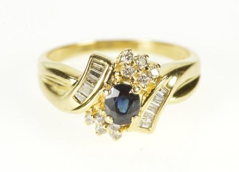 14K Sapphire Diamond Halo Bypass Engagement Yellow Gold Ring, Size 7