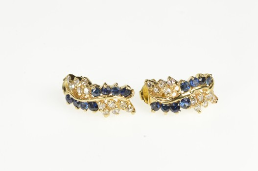 14K Sapphire Diamond Wavy Cluster Bar Statement Yellow Gold Earrings