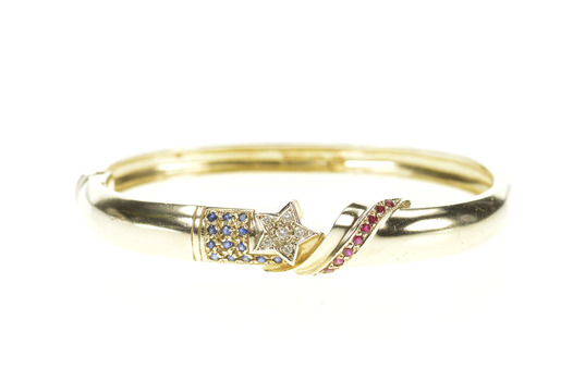 14K Sapphire Ruby Diamond Patriotic Star Bangle Yellow Gold Bracelet 7""
