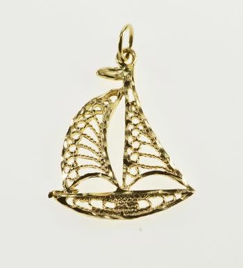 14K Scroll Design Diamond Cut Trim Sailboat Yellow Gold Charm/Pendant