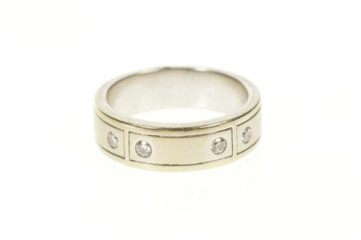 14K Shane Co. Diamond Squared Men's Wedding Band White Gold Ring, Size 10