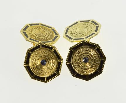 14K Sim. Sapphire Ornate Scroll Pattern Black Enamel Yellow Gold Cuff Links