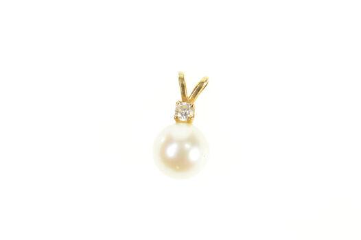 14K Simple Pearl Diamond Classic Yellow Gold Pendant