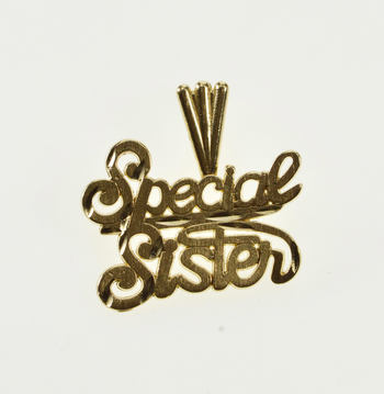 14K Special Sister Sibling Bond Cursive Word Yellow Gold Charm/Pendant