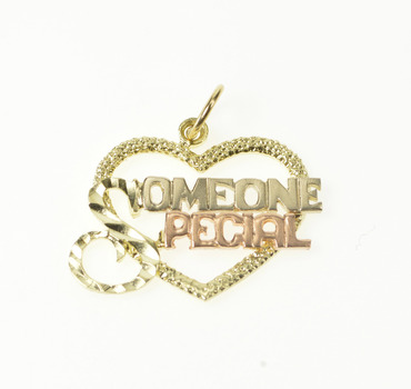 14K Special Someone Tri Tone Heart Valentine Yellow Gold Charm/Pendant