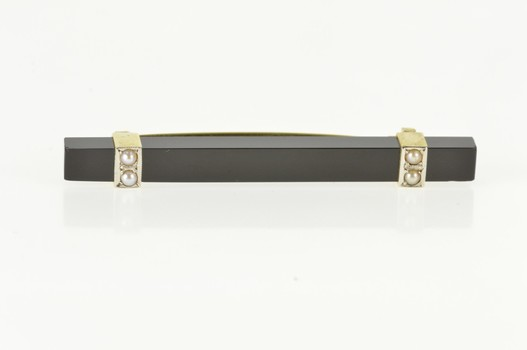 14K Square Black Onyx Bar Seed Pearl Yellow Gold Pin/Brooch