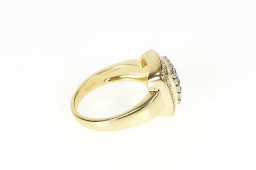14K Square Diamond Cluster Halo Engagement Yellow Gold Ring, Size 7