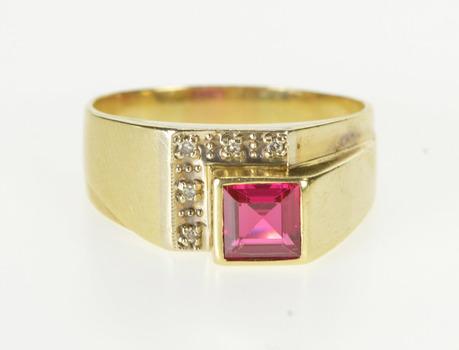 14K Square Syn. Ruby Diamond Men's Fashion Yellow Gold Ring, Size 11.5