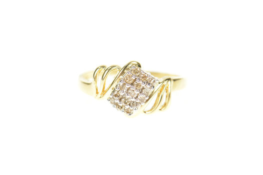 14K Squared Diamond Cluster Bypass Statement Yellow Gold Ring, Size 6.25