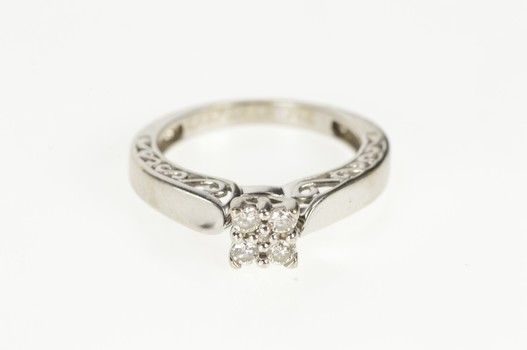 14K Squared Diamond Cluster Filigree Engagement White Gold Ring, Size 5.5